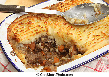 Homemade cottage pie from above - Homemade cottage pie, made...