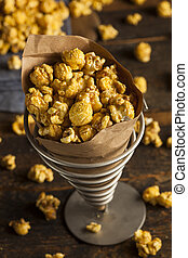 Homemade Crunchy Caramel Popcorn Ready to Eat