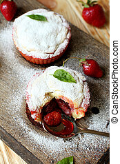 homemade cupcakes with strawberry jam