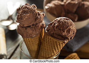 Homemade Dark Chocolate Ice Cream Cone - Homemade Dark...