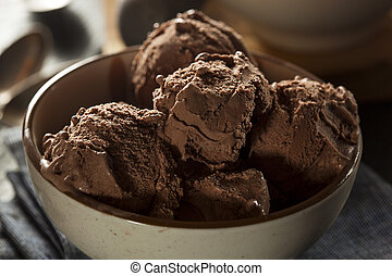 Homemade Dark Chocolate Ice Cream in a Bowl