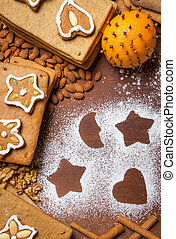 Homemade decorating gingerbread cookies