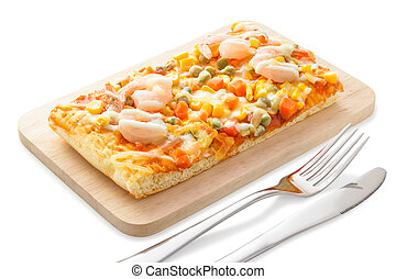 Homemade delicious fresh a slice of pizza on wooden plate.