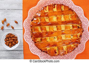 cottage cheese pie with raisins, almonds