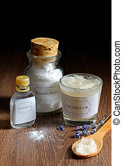 Homemade deodorant made from coconut oil, sodium bicarbonate...