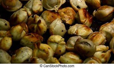 Homemade dumplings fried with onion on a pan