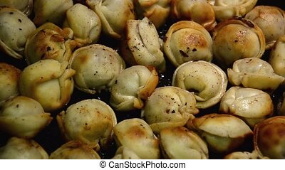 Homemade dumplings fried with onion