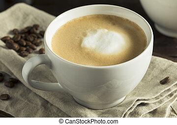 Homemade Flat White Latte with Skim Milk Cream