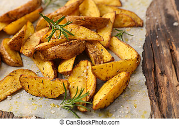 homemade french fries with curcuma