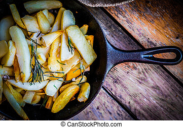 Homemade French Fries With Rosemary And Salt In Cast Iron ...