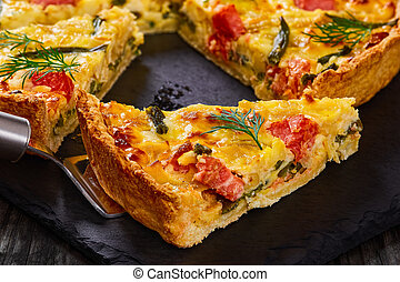 homemade french quiche with Salmon, close-up