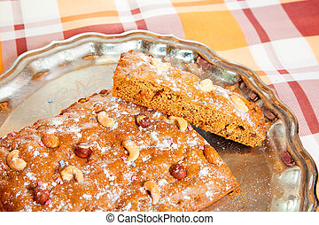 homemade fresh honey cake with nuts