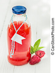 Homemade fresh raspberry juice