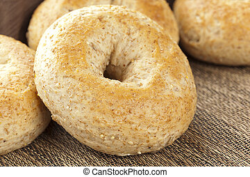 Homemade Fresh Whole Grain Bagels on a background