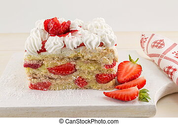 Homemade fruit cake with fresh strawberry