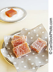 Homemade fruit candy - Pieces of fruit candy on a napkin in...