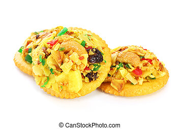 Homemade fruit cookies on white background