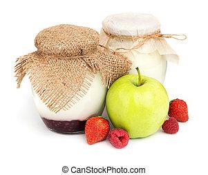 Homemade fruit yogurts