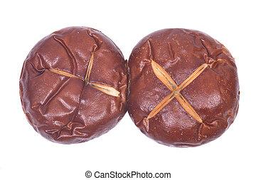 Homemade german soft pretzel buns isolated on white...