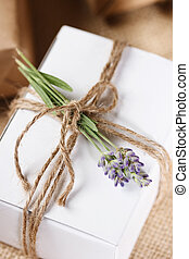 Homemade Giftbox with Lavender Sprig - White Present box ...