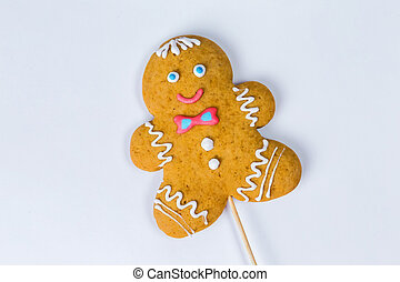 Christmas homemade gingerbread cookies on a white background. . Top view, copy space