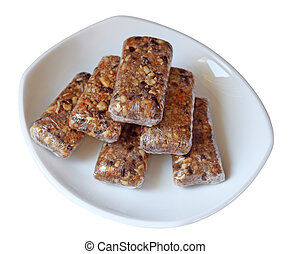 Homemade Granola Bars - Homemade granola bars isolated on...