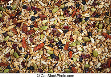 Closeup of homemade granola with various seeds and berries
