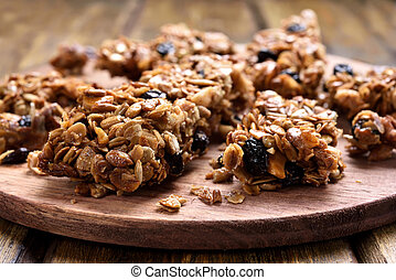 Homemade granola pieces, close up view
