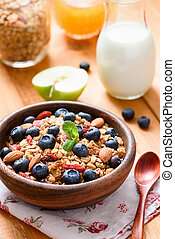 Homemade granola with berries for healthy breakfast