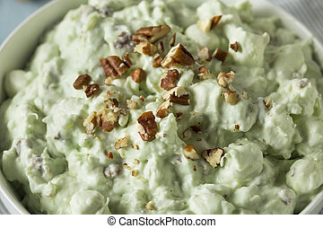 Homemade Green Pistachio Fluff Dessert with Pecans and...