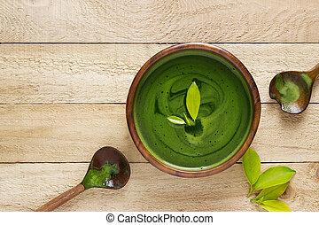 homemade green tea, refreshing for health on white background