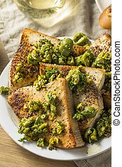 Homemade Grilled Swordfish Steaks with Olive Topping