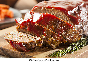 Homemade Ground Beef Meatloaf with Ketchup and Spices