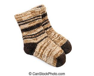 Homemade hand-knitted dog wool socks