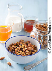 homemade healthy granola in bowl for breakfast