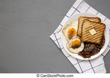 Homemade Healthy Sunnyside Eggs Breakfast on a white plate ...