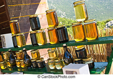 Homemade honey on the street market in Croatian mountains