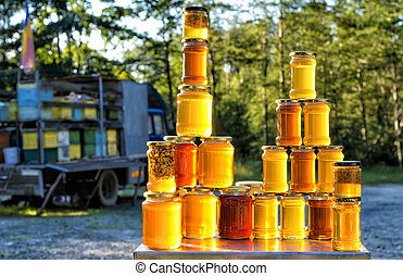 Homemade honey on the street market in Romanian mountains