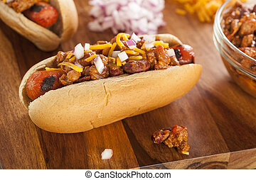 Homemade Hot Chili Dog with Cheddar Cheese