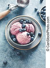 Homemade Ice cream with fresh blueberries.