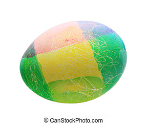 homemade isolated Easter egg - blue, green, pink, and yellow...