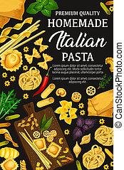 Homemade Italian pasta and herbs, vector - Italian pasta...