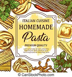 Homemade italian pasta food sketch - Italian homemade pasta...