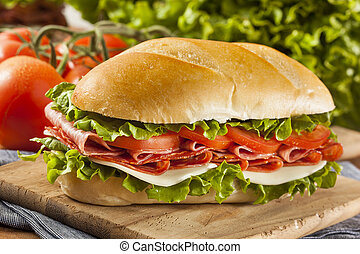 Homemade Italian Sub Sandwich with Salami, Tomato, and...