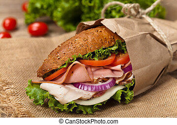 Sub Sandwich - Homemade Italian Sub Sandwich with Salami,...