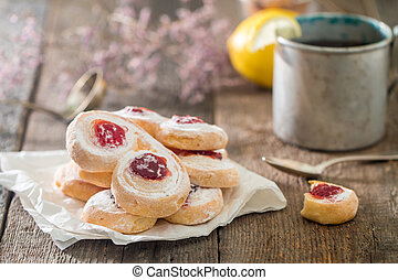 homemade jelly cookies puff pastry with red jam