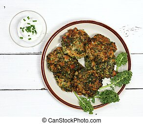 Homemade kale pancakes with dressing, flat lay - Fried ...