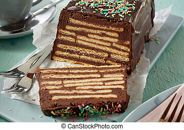 Homemade Kalter Hund cake with topping
