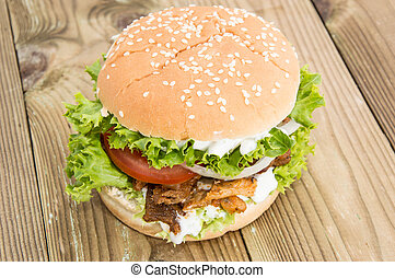Homemade Kebab Burger on wooden background