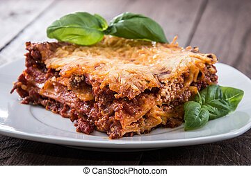 Homemade Lasagna on a plate - Fresh homemade Lasagna on a ...